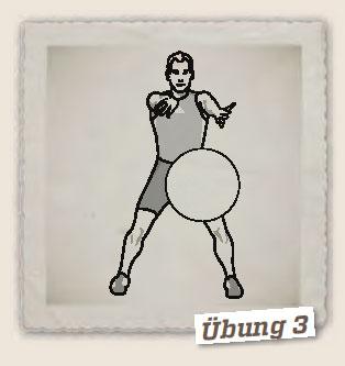 Ball fangen, Hüftdrehung, Gleitschritt rückwärts