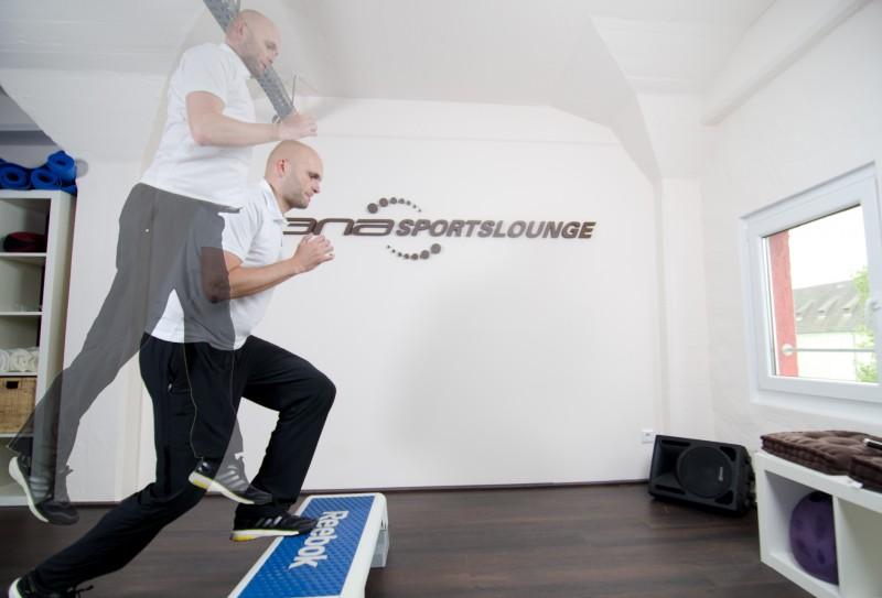 Sprung-Aufsteiger mit dem Step - Ausgangs- und Endposition